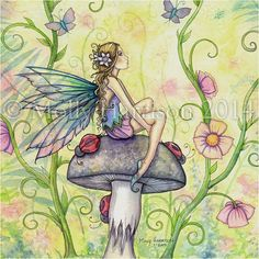 "Fairy Fine Art Fantasy Watercolor Print by Molly Harrison 12 x 16 ""A Happy Place"""