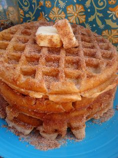 Ever had a Churro Waffle? Make a bowl of cinnamon and sugar, and just as soon as your waffles come out of the waffle iron (Let them get a little bit more done than you might normally - You want them to have a little bit of a crust) - then, you flip them over in that sugar until nicely coated. Let them sit for a minute, add butter and eat. Yum. Kids love these.