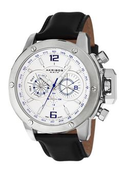 Price:$120.13 #watches Akribos XXIV AK469WT, This casual watch by Akribos XXIV features a round case with six decorative screws adorning the bezel. This Swiss Quartz timepiece has a beautifully designed double-layered dial, day of week function, date function, GMT function and genuine leather strap.