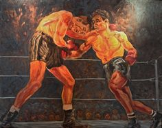 Boxing , Jake LaMotta , Oil on canvas,43 x 54 inches, Mike Halem