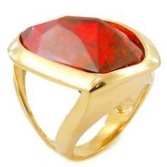 Anel Folheado A Ouro Com Pedra Vermelha Cristal Swarovski - Rivera Jóias