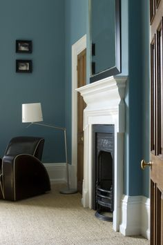 Living room with walls in Stone Blue by Farrow & Ball