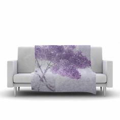 40 x 30 Fleece Blanket Kess InHouse Suzanne Harford Pastel Purple Hydrangea Flower Floral Lavender Throw