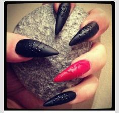 Red & Black Stilettos Nail Art