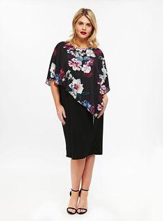 dd34d7e39a0 Grace Black Overlay Shift Dress. Evans Clothing