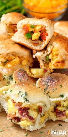 May 2019 - Cheesy Bacon and Egg Breakfast Bombs are soft and tender portable poppers, stuffed with smoky bacon, scrambled eggs and ooey gooey cheese, topped with garlic herb butter! This scrumptious recipe is the pull apart egg breakfast of your dreams! Mexican Breakfast Recipes, Bacon Breakfast, Breakfast Dishes, Healthy Breakfast Recipes, Brunch Recipes, Breakfast Ideas With Eggs, Breakfast Finger Foods, Easy Egg Breakfast, Cake Topper Banner