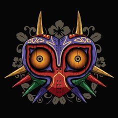 T-shirt Majora's mask en bois. Dessin fan art de Zelda