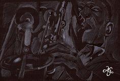 John Coltrane   (Lápis de cor sobre papel preto)
