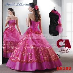 Elegant ball gown sleeveless Floor-length hot pink Quinceanera Gown - Elegant Quinceanera Dresses
