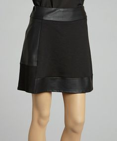 Take a look at this Black Faux Leather A-Line Skirt - Women by 555 Los Angeles on #zulily today!