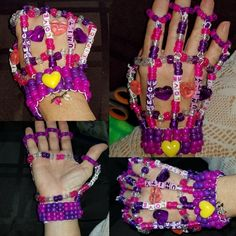 One of my favorite pieces, my Kandi glove. Diy Kandi Bracelets, Beaded Bracelets, Kandi Patterns, Beading Patterns, Kandi Cuff, Kandi Mask, Cute Jewelry, Beaded Jewelry, Diy Perler Beads