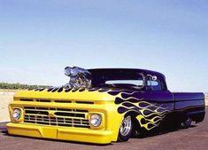"Lemon Ice-Pearl-Flames over Imron Blue Pearl ""Looks-Black"" 1966 Hot Rod Trucks, Mini Trucks, Cool Trucks, Chevy Trucks, Pickup Trucks, Chevrolet Silverado, Custom Trucks, Custom Cars, Carros Audi"