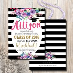 Black and White Graduation Invitation by BlueTulipStudio on Etsy