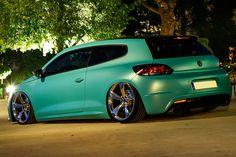 "Leave it to foil wrapping firms to come up with flamboyant colors like the ""Matt Caribbean Metallic"" used here on a slammed VW Scirocco R."