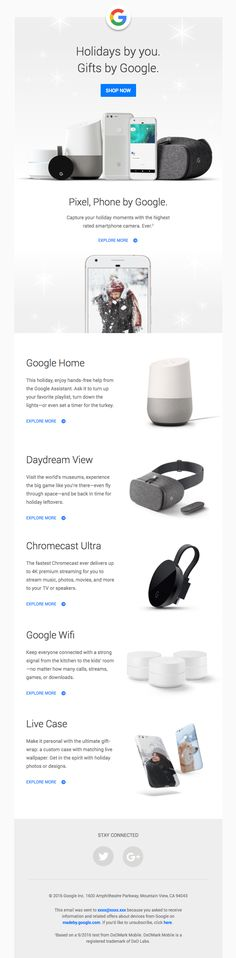 Give the gift of Google: Pixel, Daydream View, Google Home, Chromecast Ultra—and more - Really Good Emails
