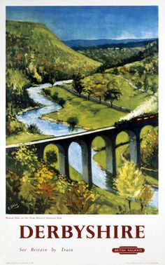 Vintage UK Railway Poster, Monsal Dale viaduct and the Wye valley.