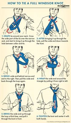 How to Tie a Tie The Complete Guide The Art of Manliness is part of Windsor tie - How to tie four classic necktie knots that every man should know, including the fourinhand, halfwindsor, windsor, and shelby knots Cool Tie Knots, Cool Ties, Tie A Tie Easy, How To Tie Tie, Windsor Tie Knot, Half Windsor, Nudo Windsor, Tie Knot Styles, Tie A Necktie