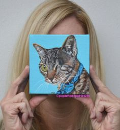 This week's pet is Bandit, Read his story @FB/popartpetportraits Original pet painting by PopArtPetPortraits, $70.00
