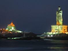 Kanya kumari   the southern tip of India where Indian Ocean, Arabian Sea and Bay of Bengal meet.  Spectacular!