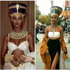 Things she did, THAT! Nail or fail? Nefertiti Costume, Cleopatra Costume, Egyptian Beauty, Egyptian Queen, Egyptian Makeup, Egyptian Jewelry, Halloween Kostüm, Halloween Costumes, Egyptian Goddess Costume