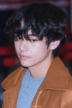 Kim Taehyung wearing a brown jacket With black mullet fluffy hair at the airport Daegu, Fluffy Hair, Kim Taehyung, Kpop, Bts Photo, Taekook, Korean Boy Bands, Korean Singer, K Idols