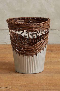 Wrapped Rattan Waste Basket