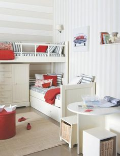 Shared rooms - bunk beds and gorgeous striped walls Bunk Beds, Loft Bed, Shared Bedrooms, Small Rooms, Beds For Small Rooms, Loft Spaces, Bedroom Design, Boys Bedrooms, Kids Bunk Beds