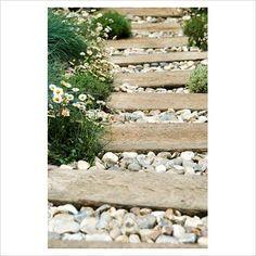 Pebble and wood path; love the alpine flower edging! Seaside Garden, Alpine Garden, Coastal Gardens, Beach Gardens, Outdoor Gardens, Path Design, Landscape Design, Garden Design, Design Ideas