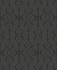 Balustrade Slate (950604) - Sophie Conran Wallpapers - A beautiful, intricate symmetrical trellis pattern with a pearlescent/lustre sand effect texture - shown here in the dark grey black on black colourway.  Paste the wall. Please request sample for true colour match.