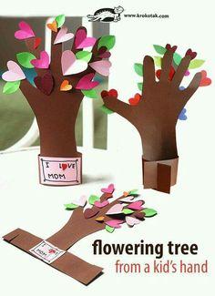 Your Love Makes Me Grow Tree-Handprint-Kid Art-Valentine's Day