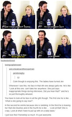 colin o'donoghue and jennifer morrison hahah - captain swan!
