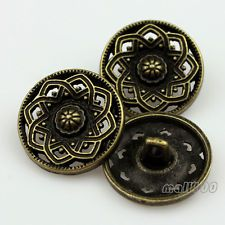 12kpl Bronze Tone veistetty kukka koristeellinen kuvio Metal Shank Napit 23mm