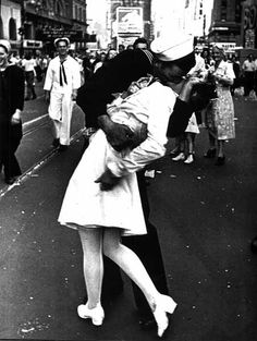 "Moment in Time: ""The Kiss"" -- Sailor kisses girl during parade celebrating the end of war against Japan. -- New York City."
