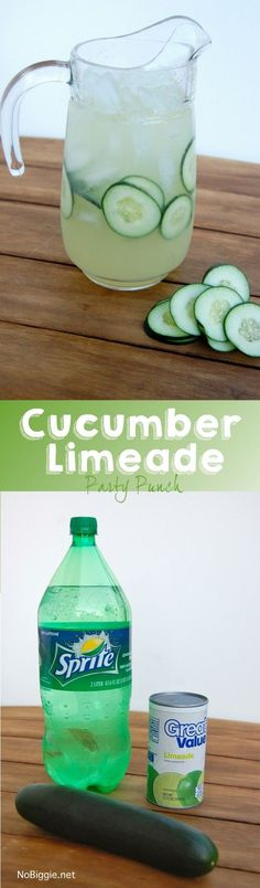 cucumber limeade party punch - this punch is so easy and so good! | http://NoBiggie.net