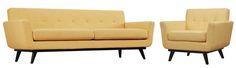 James Beige Grey Yellow Mixed Linen Living Room Set