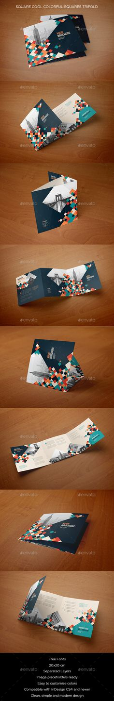 Square Cool Colorful Squares Trifold Brochure Template InDesign INDD. Download here: https://graphicriver.net/item/square-cool-colorful-squares-trifold/17050970?ref=ksioks