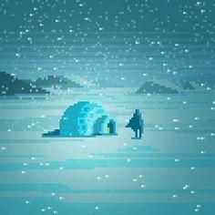 mazeon : pixel art — Somewhere in the Arctic Shown at 500 percent. Pixel Art Gif, Cool Pixel Art, Pixel Art Games, 3d Pixel, Pixel Art Background, Vaporwave, Pixel Characters, 8 Bit Art, Polygon Art