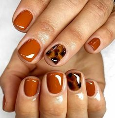Staple autumn nails🧶 short torts🐢 using Fall, Glass Yellow, Chocolate + Jet Black. Prepped using Staple autumn nails🧶 short torts🐢 using Fall, Glass Yellow, Chocolate + Jet Black. Fancy Nails, Love Nails, How To Do Nails, Pretty Nails, My Nails, Style Nails, One Color Nails, Nails Kylie Jenner, Autumn Nails