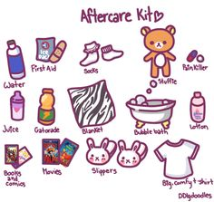 Aftercare is extremely important after intense scenes, whether it be impact play, really rough sex, and so on. These are just a few items that can be included in an aftercare kit. Remember that different scenes require different types of items. Sub drop is different for each person too so make your kit according to you or your parter. Make sure that your little is hydrated with either water or gatorade. It doesn't hurt to include other drinks that are comforting or bring your little into…