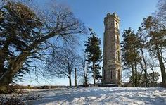 Keiths Tower, Banchory, near Peterculter, Aberdeenshire, Scotland. Built in 1825. 50' tall octagonal stone folly with spiral stairs to lookout