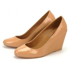 DEMI-WEDGE PUMPS IN PATENT NUDE