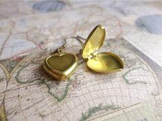 My Traveling Heart small raw brass heart locket earrings $8.50 #thecraftstar