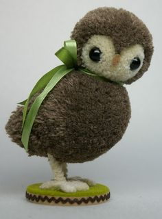 """cute little owl.....(woot.woot! this pueo is so cute!! i can't believe it's created from """"yarn pompoms""""! Excellent piece of work!)..."""