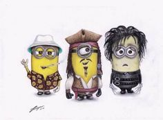 Depp Characters as minions Amor Minions, Cute Minions, Minions Despicable Me, Minions Quotes, Johnny Depp Characters, Minion Face, Here's Johnny, Minion Pictures, Johny Depp