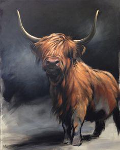 Available Paintings — Aimée Rolin Hoover Highland Cow Painting, Highland Cow Art, Highland Cattle, Highland Cow Tattoo, Animal Paintings, Animal Drawings, Animal Painter, Painter Artist, Horse Drawings