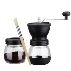 Manual Coffee Grinder with Storage Jar ,Soft brush -Storage Capacity 350 mL Ceramic Coffee Mill, Hand Ground Coffee Beans Taste Best, Adjustable Grind, Conical Ceramic Burr Quiet and Portable