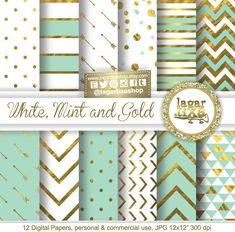 Gold Mint Pale turquoise Teal Digital Paper Background Chevron Polkadots hearts lace Quatrefoil Scrapbooking Blog invitations cards by LagartixaShop on Etsy