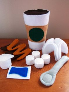 Felt Food Coffee or Hot Chocolate Eco Friendly by feltplayground, $25.00    It's too cute.