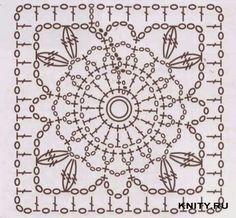 бабушкин квадрат, схема бабушкиного квадрата, квадратный мотив крючком