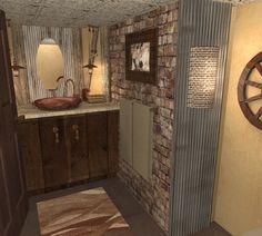 Powder room / basement bowling alley idea